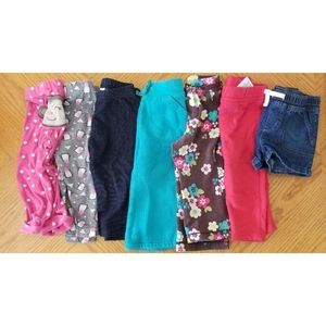 12 month girl bottoms lot bundle of 7